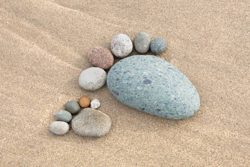 one small pebble foot and 1 large