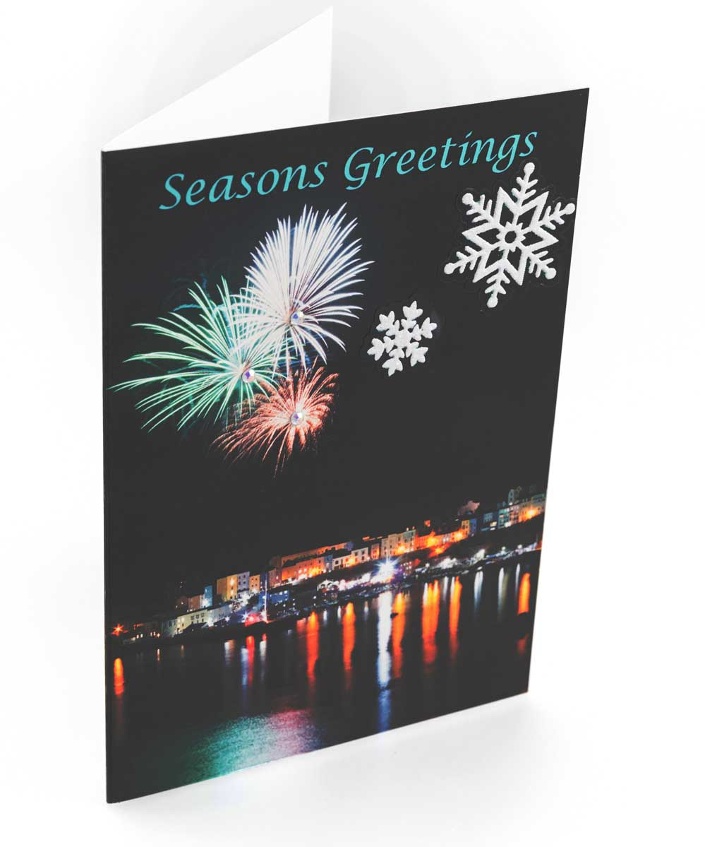 Christmas card of Tenby Fireworks and Snow decals