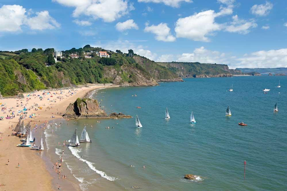 Scorpion Sailing boats setting off from North Beach Tenby on race day