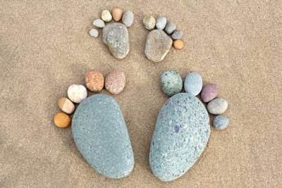 2 large pebble feet and 2 small