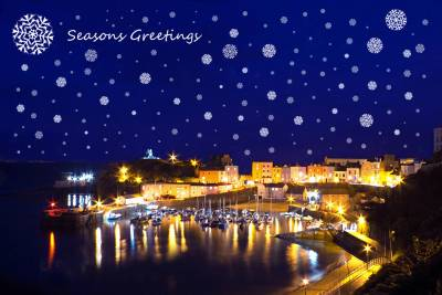 Tenby Harbour with Snowflakes and Seasons Greetings