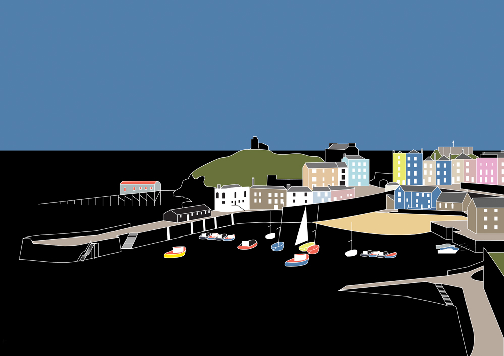 Modern Line Drawing of Tenby Harbour
