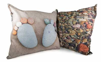 Pebble Design Cushion with Feet on one side and pebbles under water on reverse made with high quality panama cotton