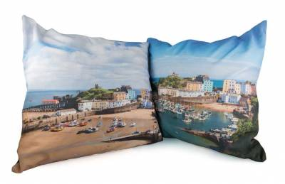 Tenby Cushions with Sunny Harbour on one side and boats or winter scene of Tenby on reverse