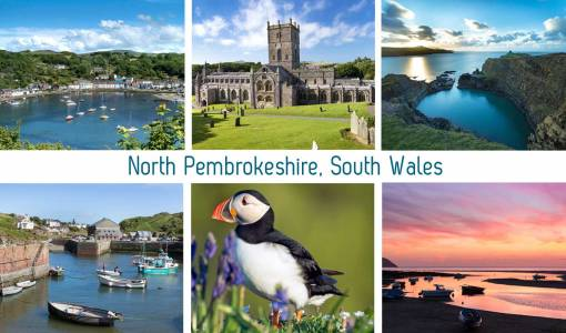 six images of north pembrokeshire on a tea towel