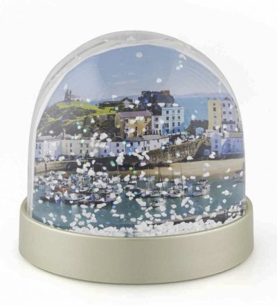 Pretty picture of Tenby Harbour in a snow globe