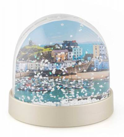 Snow Globe with pictures of Tenby Harbour