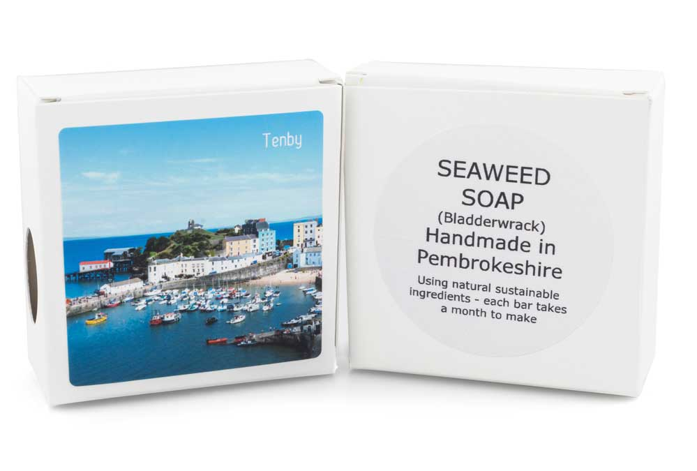 Seaweed soap with image of Tenby on box