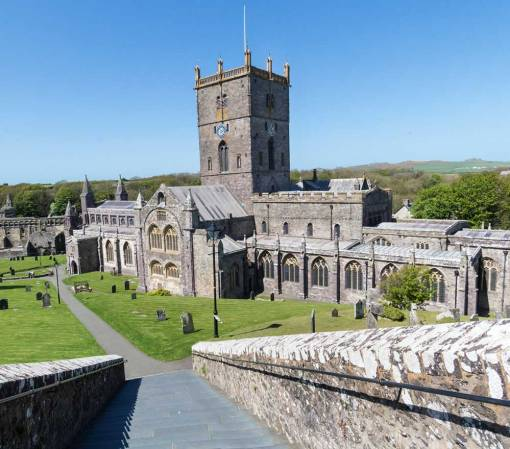 St Davids Cathedral from the steps
