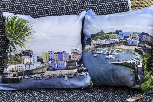 Tenby Harbour cushion covers on offer with two images of Tenby front and back