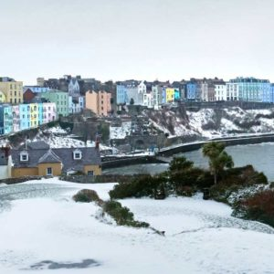 Tenby Harbour View from Monument Hill in the Snow