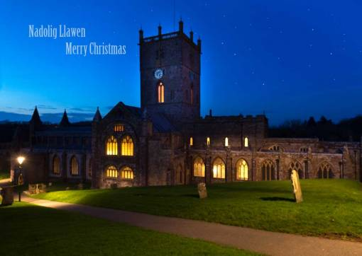 an image of St Davids Cathedral at twilight christmas card