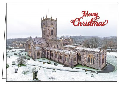 st davids cathedral in the snow christmas card
