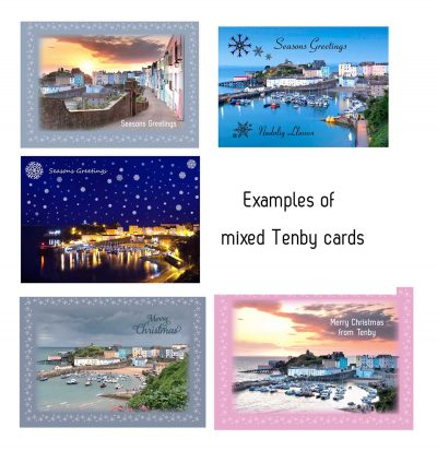 5 beautiful christmas cards with different images of tenby on