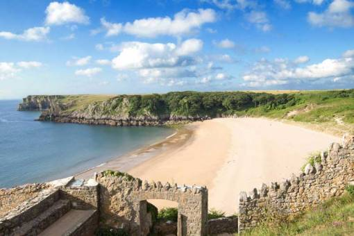 Looking across Barafundle Bay on a sunny morning