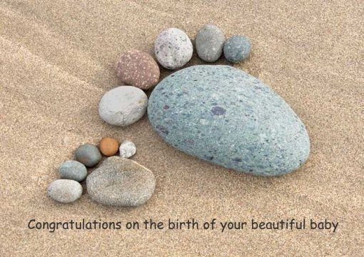Large pebble foot and small pebble foot with the words congratulations n the birth of your new baby