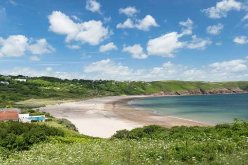 Looking across Freshwater East on a sunny day