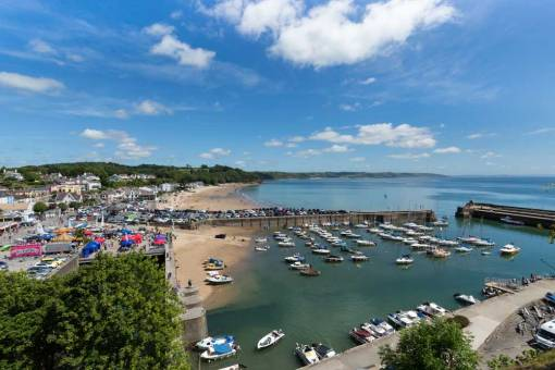 Looking down on Saundersfoot Harbour on a Sunny Day
