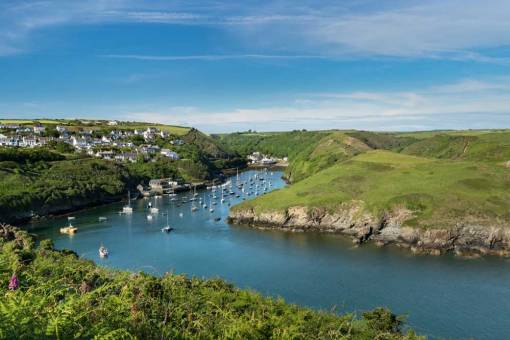 A view from the north side of Solva down the harbour on a sunny evening