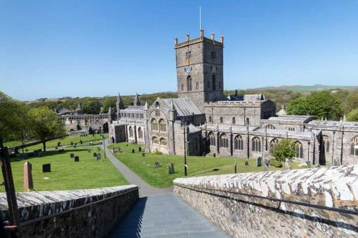 View down St Davids Cathedral steps on a sunny day