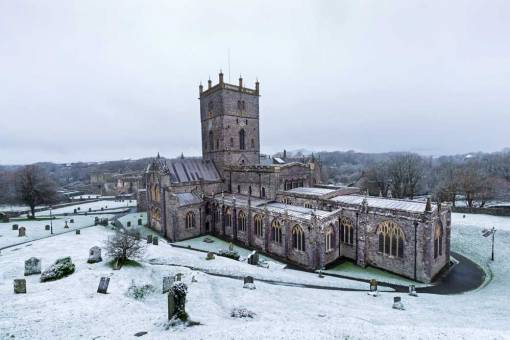 St Davids Cathedral with snow on the ground