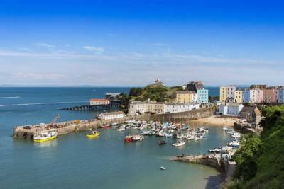 Super sunny day view of Tenby Harbour