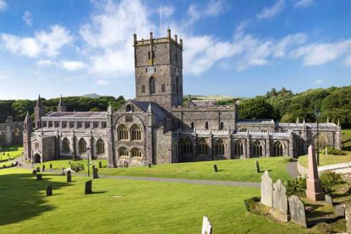 Full frontal image of St Davids Cathedral in Sunshine