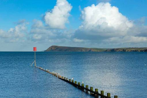 Views over the groin at Goodwick to Dinas Head