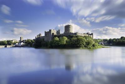 Pembroke Castle with slow mo clouds