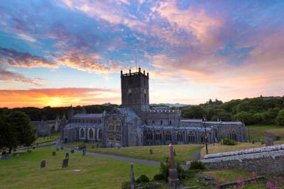 Fiery Sunset behind St Davids Cathedral