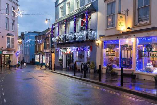 Tenby street at Christmas time with christmas lights