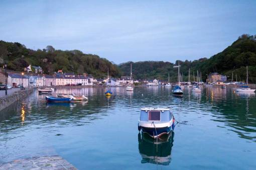 Calm water at twilight at Lower Town Fishguard
