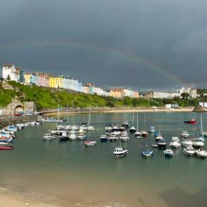 Tenby Harbour with Rainbow