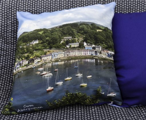 Large high quality cushion with a view looking down to Lower Town on one side and a royal blue reverse with a filler