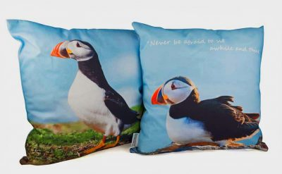 2 sided cushion with one puffin sitting and reverse puffin standing against blue sky on Skomer Island