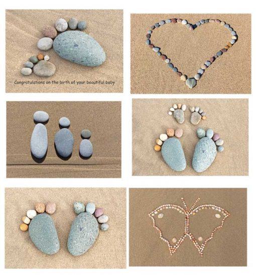 A selection of pebble pictures created by me on greetings cards