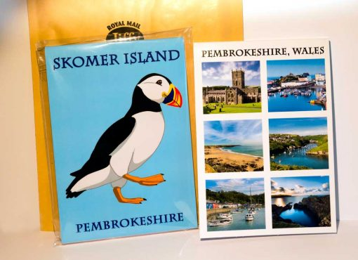 Skomer Island notebook and Pembrokeshire Notebook with six images of Pembrokeshire