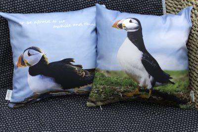 Skomer Island Puffin cushion Pembrokeshire Wales