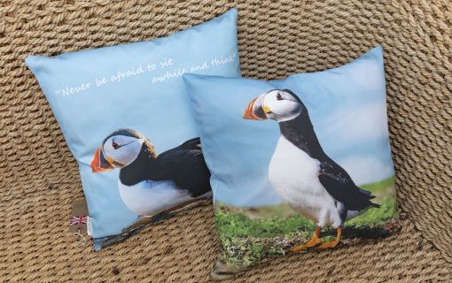 Beautiful panama cotton cushions with two different skomer island puffin images