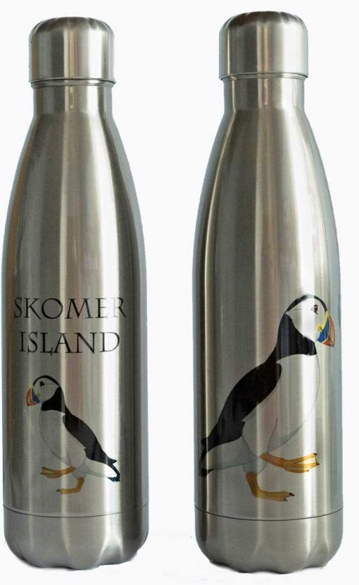 stainless steel thermos drinks bottle with puffin design and the words Skomer Island
