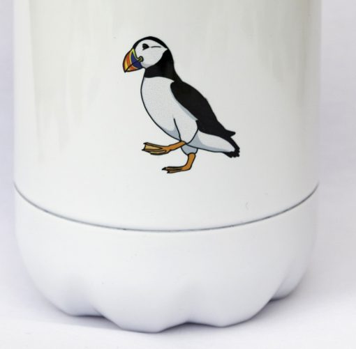 reverse of bottle with a small puffin
