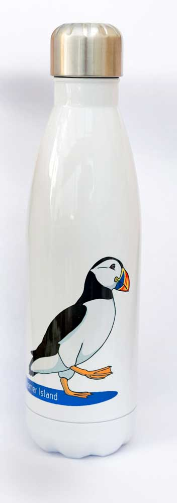 Graphic design puffin with text Skomer Island on a metal drinks bottle