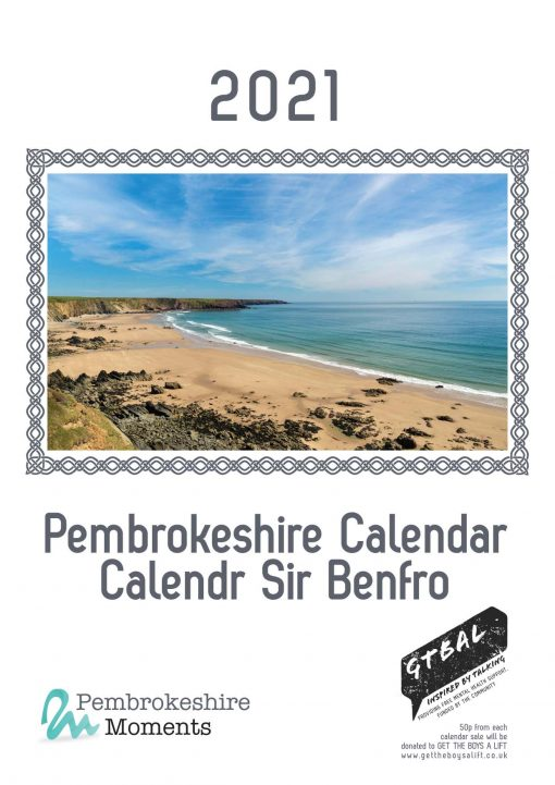 Front page of 2021 calendar with a stunning shot looking down on Marloes Beach