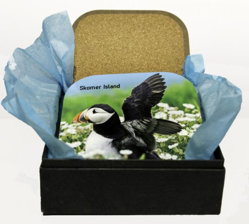 4 cork backed coasters with difference puffin photographs on