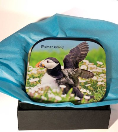 four beautiful puffin images on high gloss coasters wrapped in tissue in a presentation box