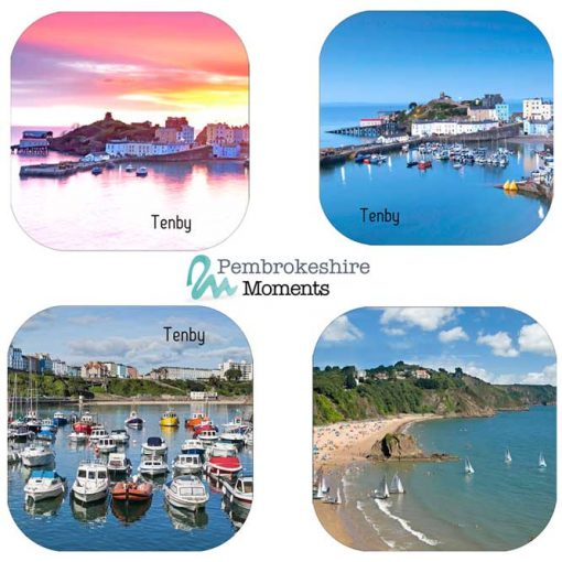 4 Tenby Coasters, pink sunrise, blue twilgiht, boats and sailing at north beach