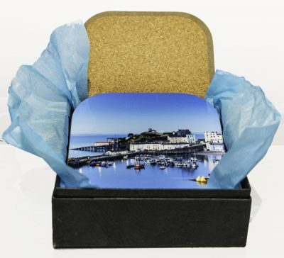 4 Tenby coasters in a presentation box wrapped in tissue
