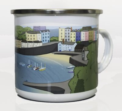 Modern artwork of Tenby on a metal mug