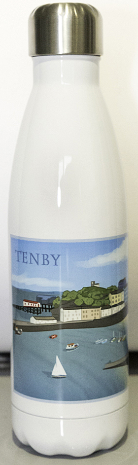 Modern Artwork of Tenby Harbour on the front of a cola shaped drinks bottle