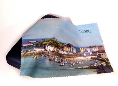 glasses cloth with a view of Tenby Harbour
